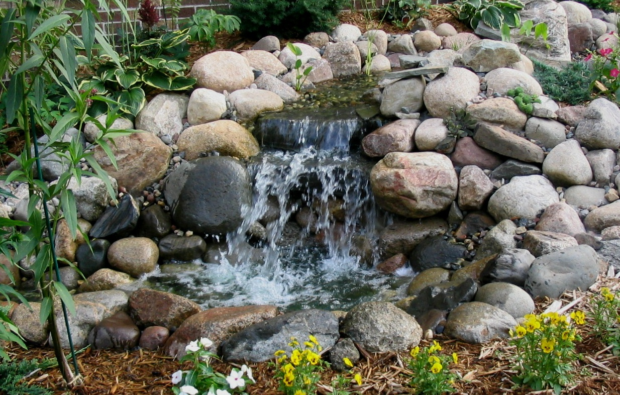 Waterfall design image home staging accessories 2014 for Backyard ponds and water features